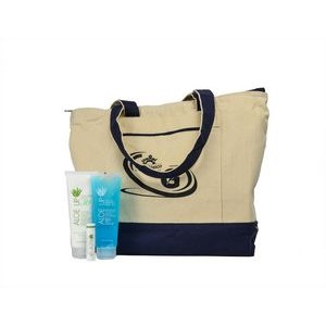 Aloe Up Canvas Tote with White Collection Sunscreen